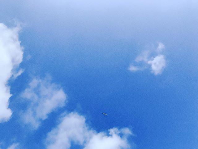 青空に雲が浮かび、その間を飛行機が飛んでいる様子